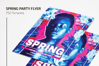 Free Spring Party Flyer Template in PSD