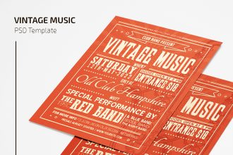Free Vintage Music Flyer Template in PSD