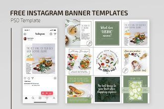 Free Organic Food Instagram Set Templates