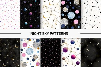 Free Night Sky Patterns Set Template