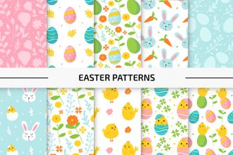 10 Free Easter Vector Patterns Set