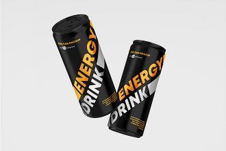 Free Energy Drink Can Mockup Set Template