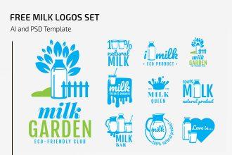 Free Milk Logos Set
