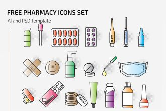 Free Vector Pharmacy Icons Set