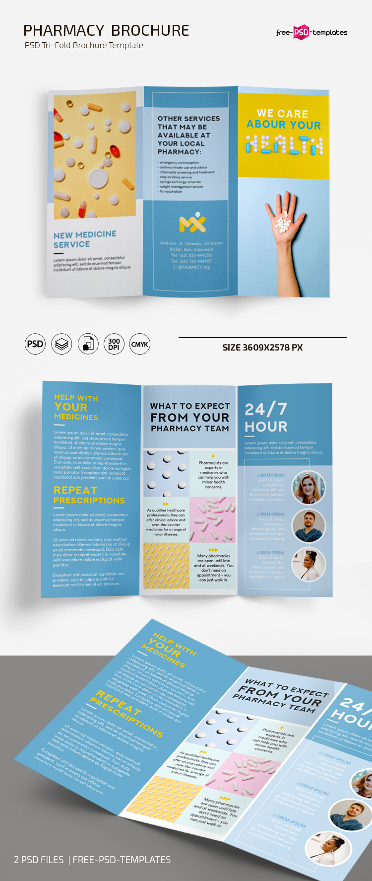 Free Pharmacy Brochure Template in PSD + AI  Free PSD Templates With Pharmacy Brochure Template Free