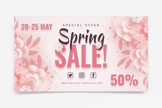 Free Spring Sale Set Banner Set Template