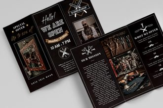 Free Barbershop Trifold Brochure Template (PSD)