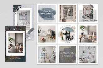 Free PSD Interior Instagram Posts and Stories Template