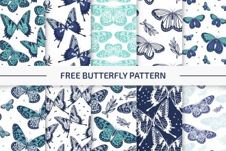 10 Free Butterfly Vector Patterns Set