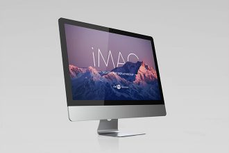 Free Desktop IMac Display Mockup Template in PSD