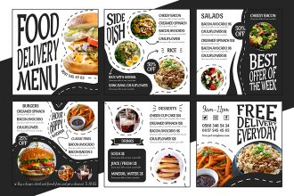 Free Food Delivery Menu Banner Set Template in PSD