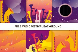 6 Free Music Festival Backgrounds in AI + EPS