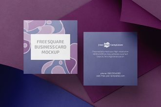 Free PSD Square Business Card Mockup Templates