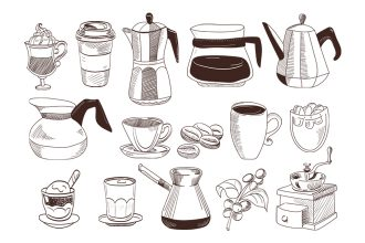 Free Coffee Icon Set Template in PSD +AI, EPS