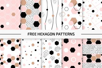 Free Hexagon Patterns Vector Set in EPS + PSD