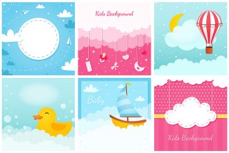 Free Kids Background Vector Set in EPS + PSD