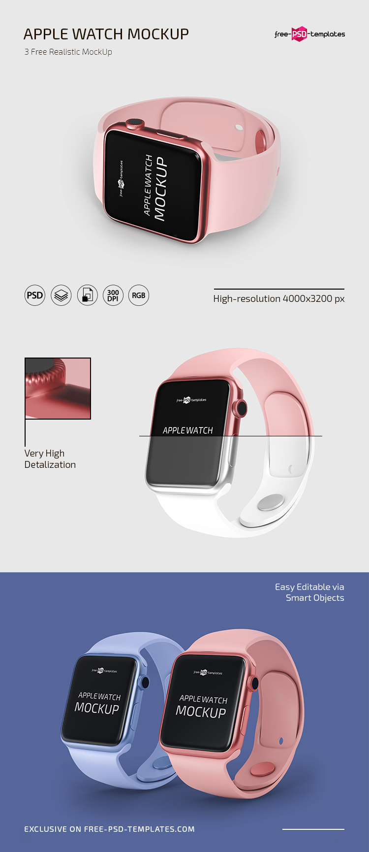 Free PSD Apple Watch Mockup Templates