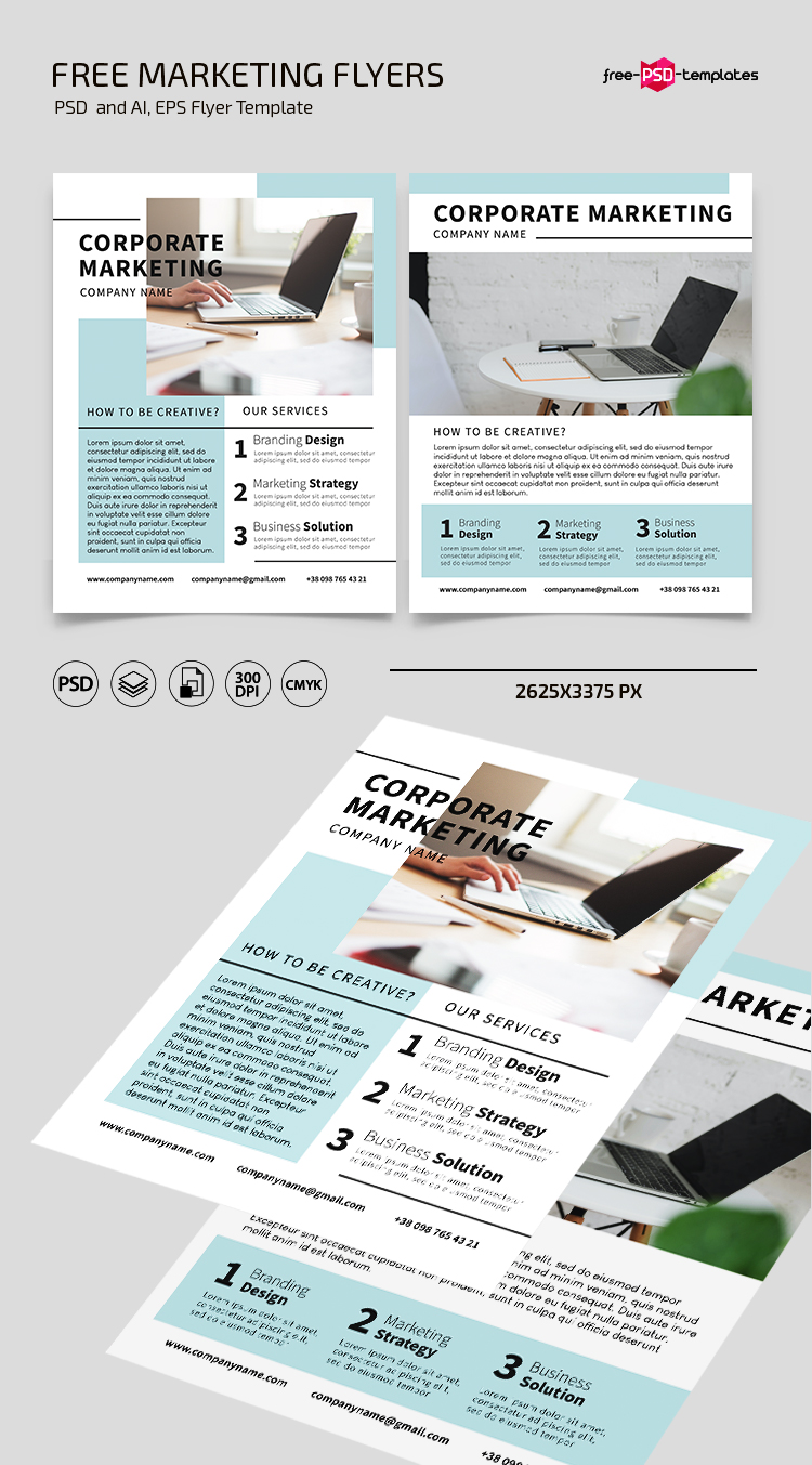 Free Marketing Flyer Template in PSD + AI + EPS