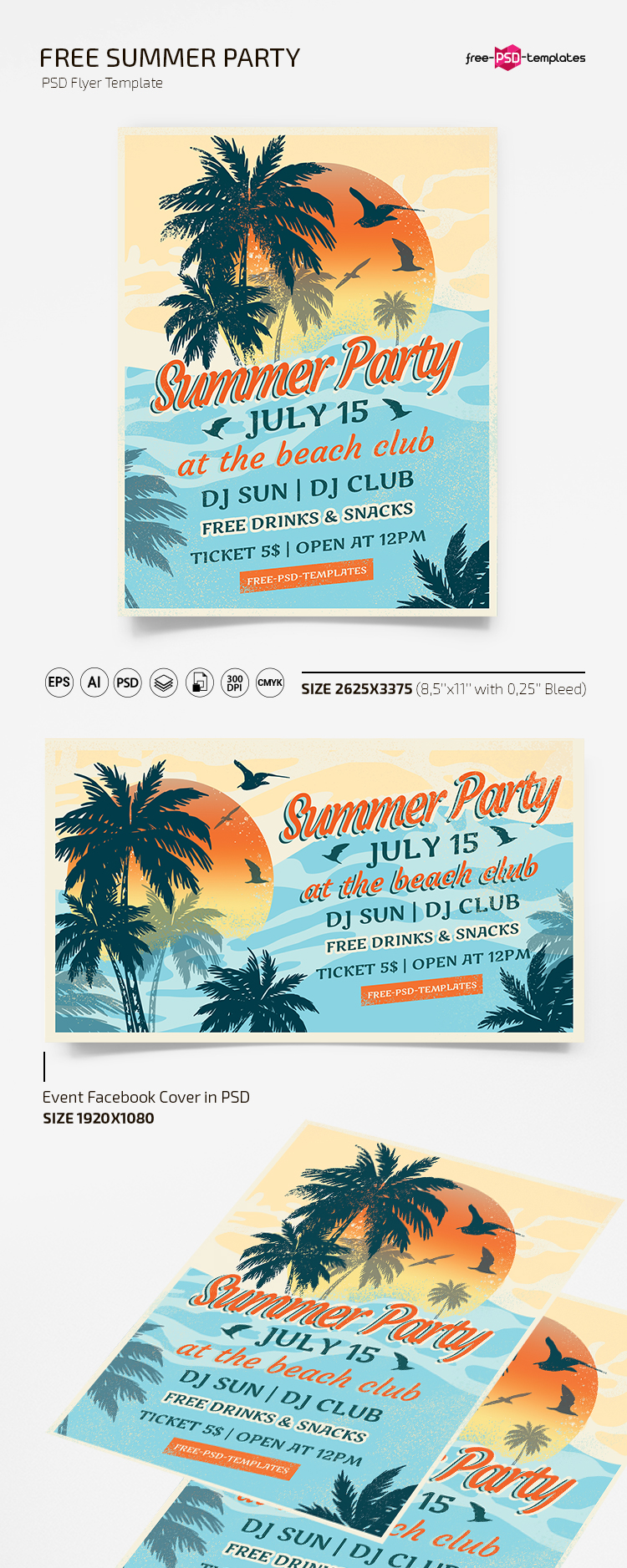 Free Summer Party Flyer Template in PSD + AI