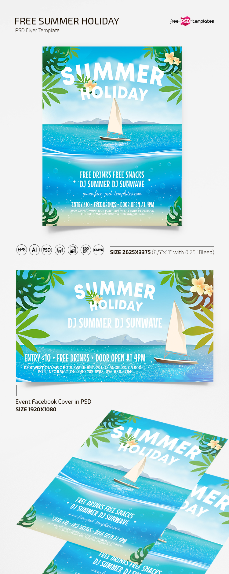 Free Summer Holiday Flyer Template in PSD + AI