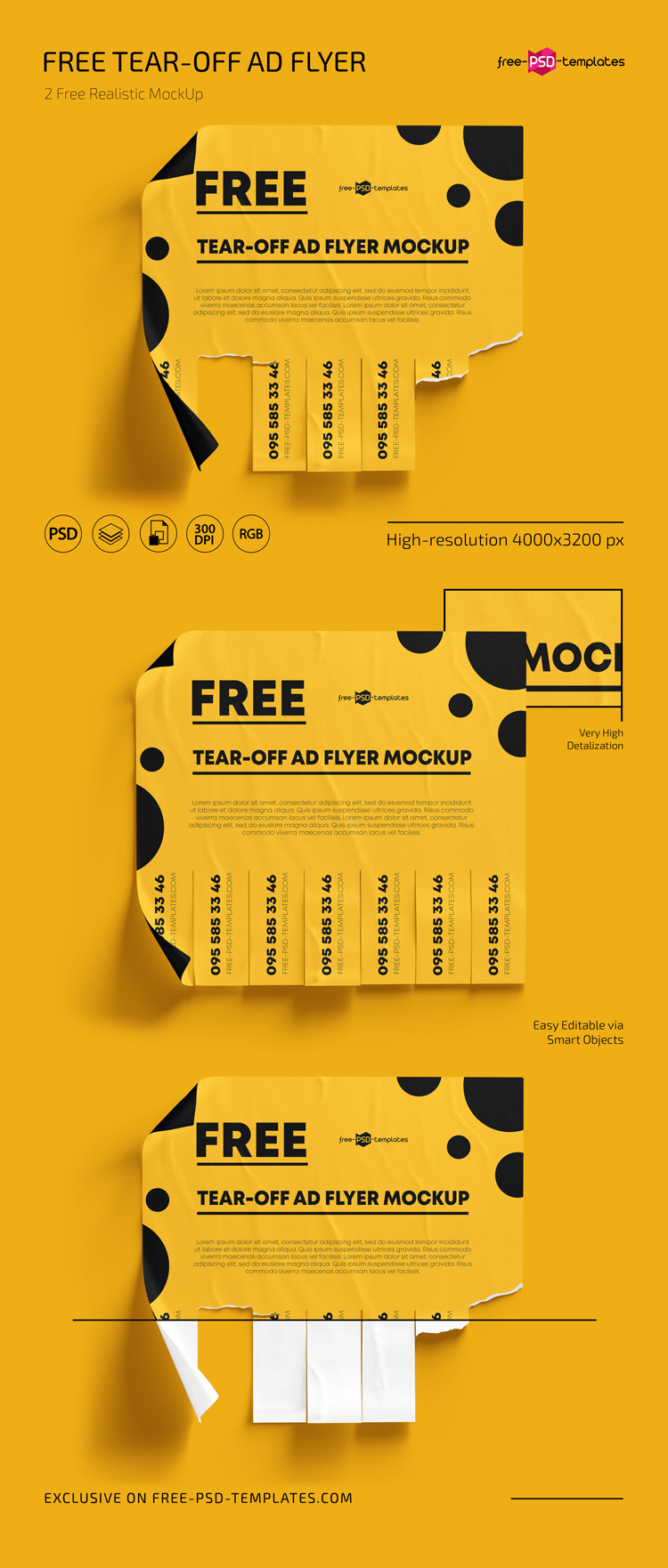 Free Tear Off Ad Mockups In Psd Free Psd Templates Tear off flyer template photoshop