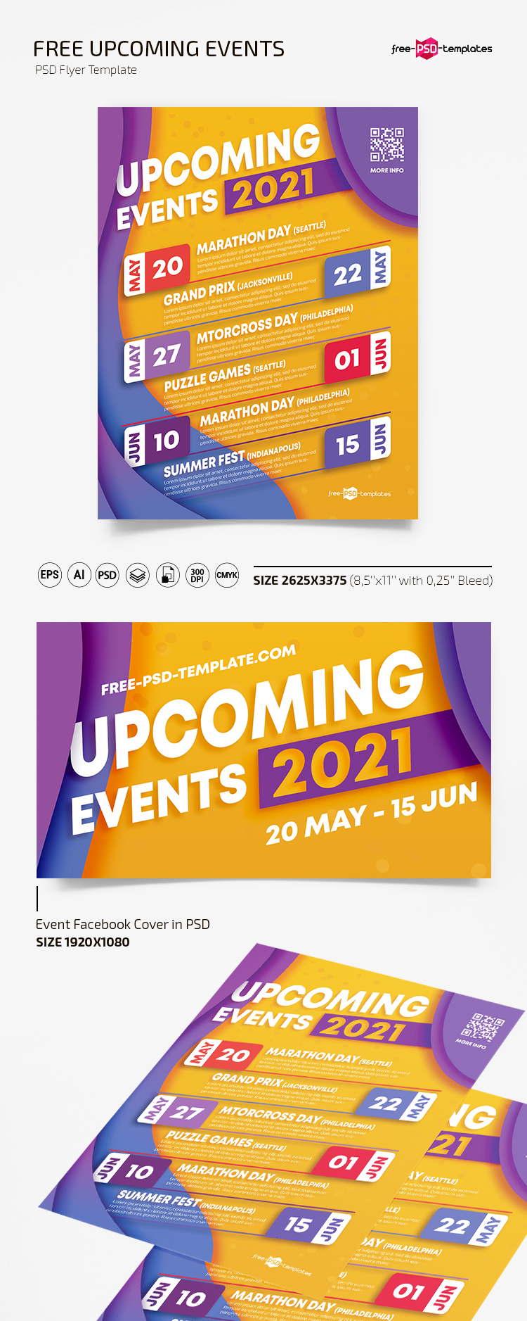 Free Upcoming Events Flyer Template in PSD + AI