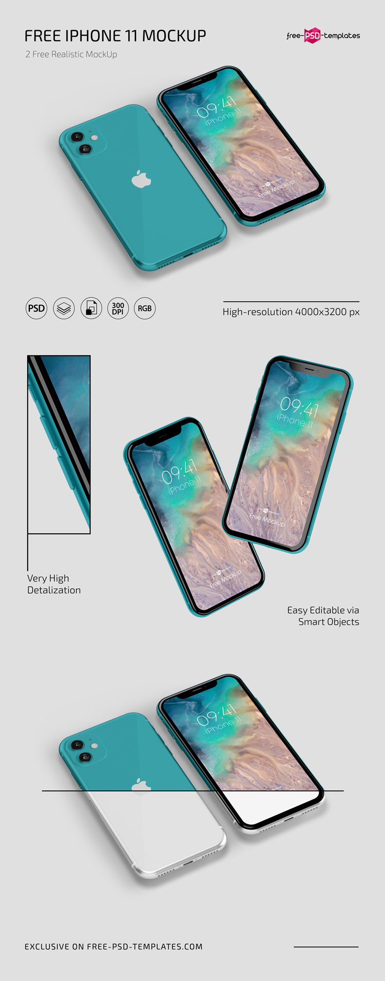 Free iPhone Mockups in PSD