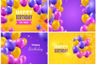 Free Birthday Background Set in PSD