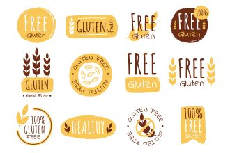 Free Gluten Stickers in EPS + PSD