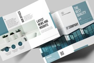 Free IT Company Bi-fold Brochure Template in PSD + AI