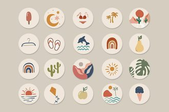 Free_Holidays_Icons_Template in PSD +AI, EPS