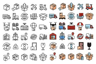 Free Shipping Vector Icon Set in EPS + PSD