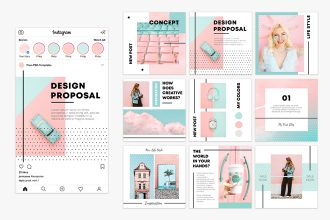 Free Soft Pink Instagram Posts Set Template in PSD