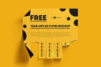 Free Tear-off Ad Mockups in PSD