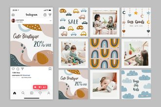 Free Toy Shop Instagram Posts Template in PSD + AI