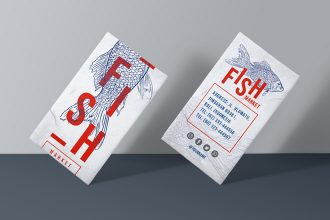 Free Business card Fish Market Template in PSD