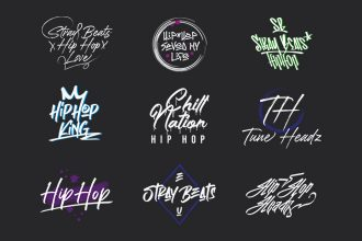 Free Hip Hop Logo Set Template in PSD + AI