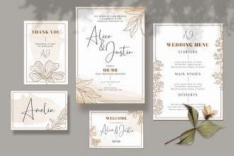 Free Wedding Invitation design Template in PSD + AI