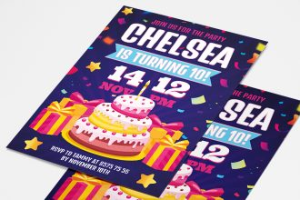 Free Birthday Party Invitation Card Template in PSD
