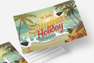 Free Summer Holiday Postcard Templates in PSD + EPS