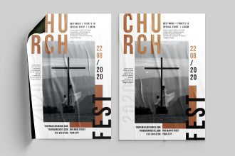 Free church poster template in PSD + AI, EPS