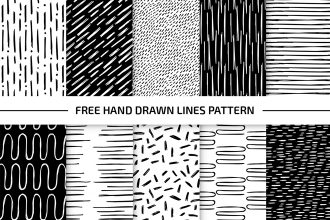 Free Hand Drawn Lines Pattern Set in EPS + PSD
