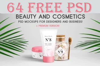64+ Free PSD Beauty & Cosmetics PSD Mockups for designers and business + Premium version!