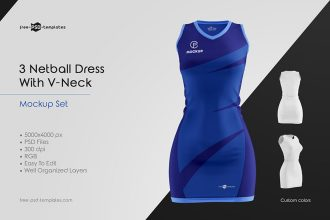 Netball Dress With V-Neck Mockup Set