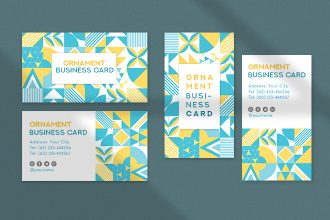 Free Ornament Business card Template in PSD