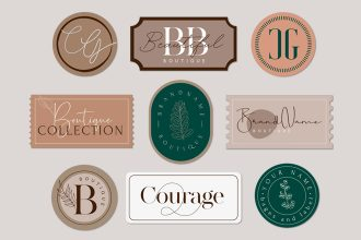 Free Bages and Label Set Template in PSD, AI, EPS