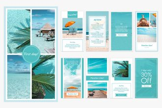 Free Vacation Instagram Stories Set Template in PSD