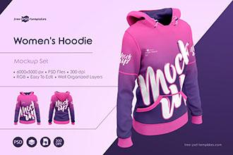 Women`s Hoodie MockUp Set