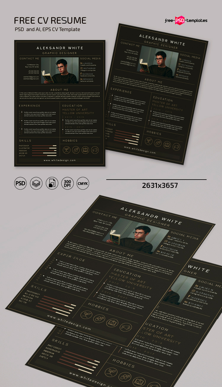 Free CV Resume Template in PSD + AI + EPS   Free PSD Templates