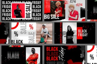 Free Black Friday Facebook Posts Template in PSD
